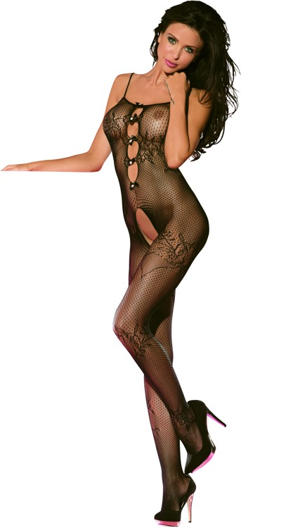 Lace Bodystocking with Pearl & Bow Accents