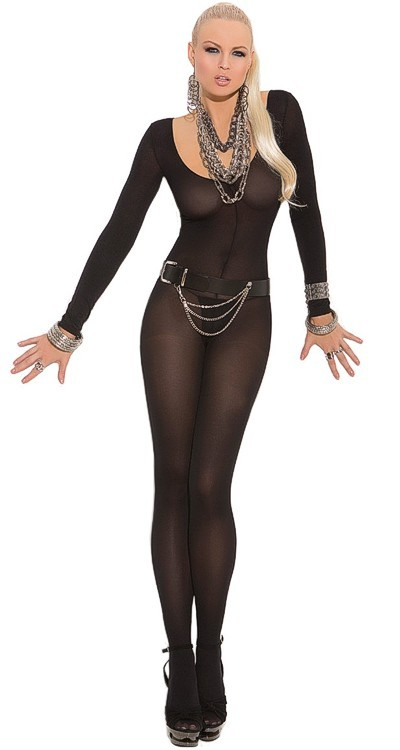 Opaque Long Sleeved Bodystocking