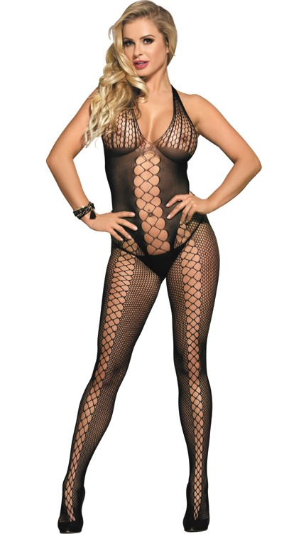 Sheer & Net Panelled Halter Bodystocking