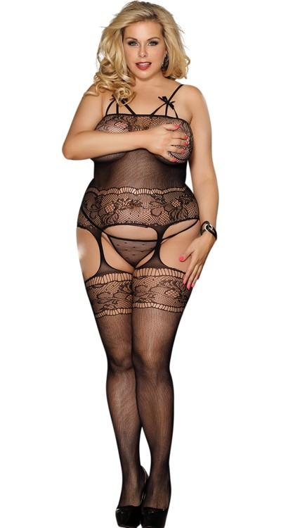 Micro Mesh Cami Suspender Bodystocking with Bows (Plus Size)