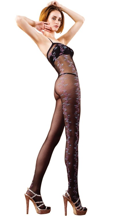 Sheer Bodystocking with Coloured Side Floral Design